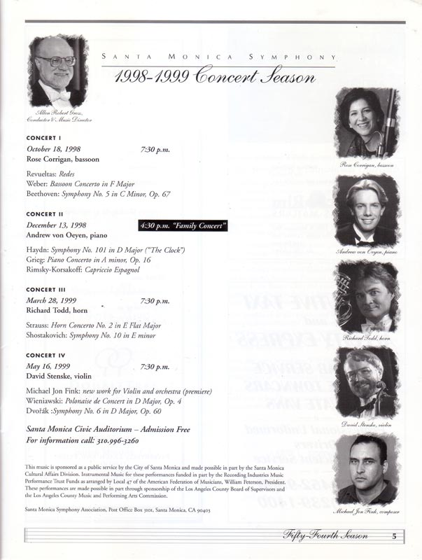 Santa Monica Symphony program (inside)