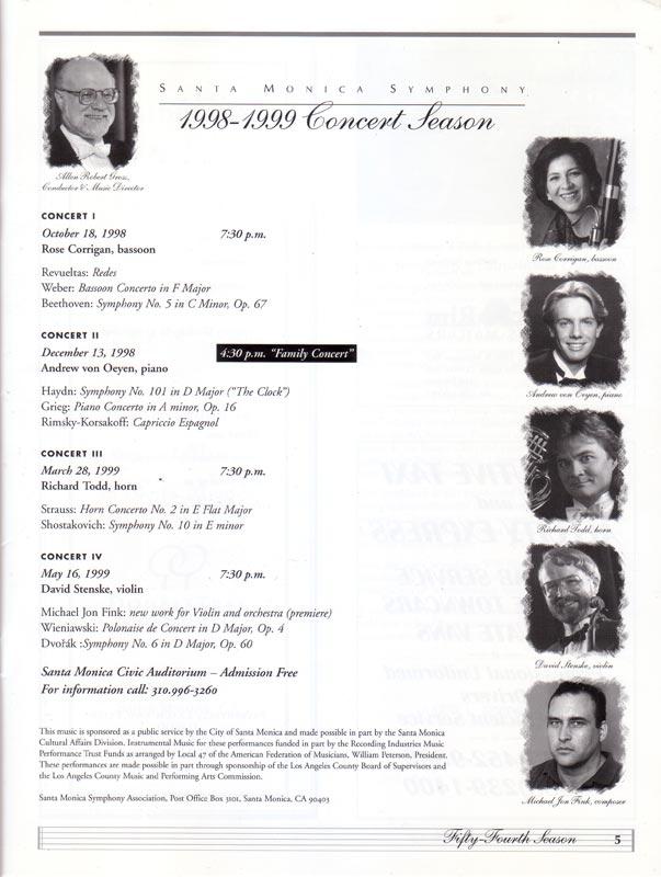 Santa Monica Symphony program (inside)